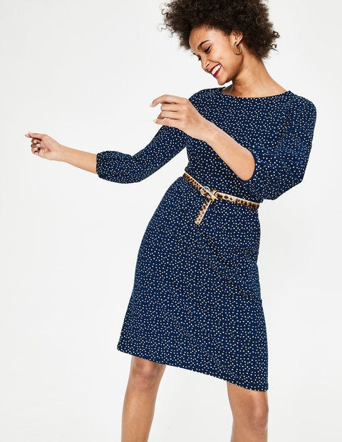 Odelia Jersey Dress - Navy Scattered Stars