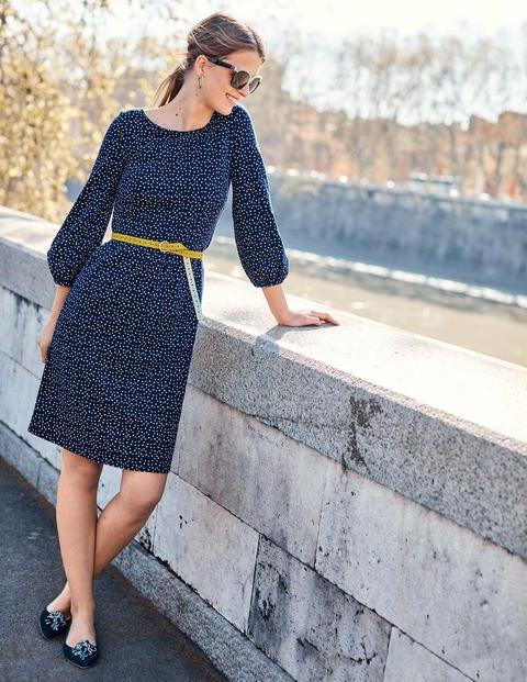 Odelia Jersey Dress - Navy Scattered Stars