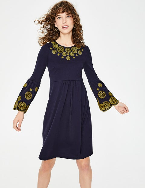 Emilia Embroidered Dress - Navy