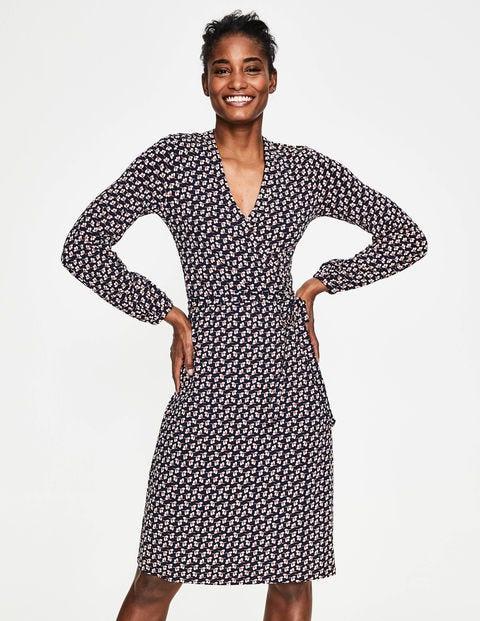 Elodie Jersey Wrap Dress - Navy Clover Geo