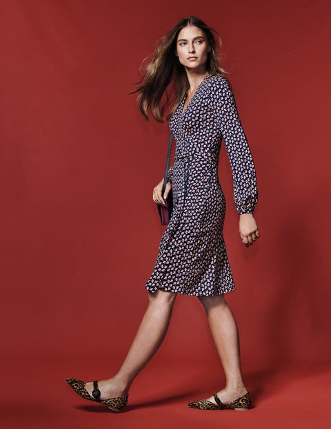 Elodie Jersey Wrap Dress - Navy Clover Geo