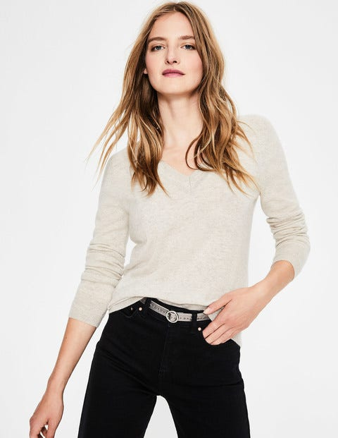 Cashmere Relaxed Vneck Sweater - Oatmeal