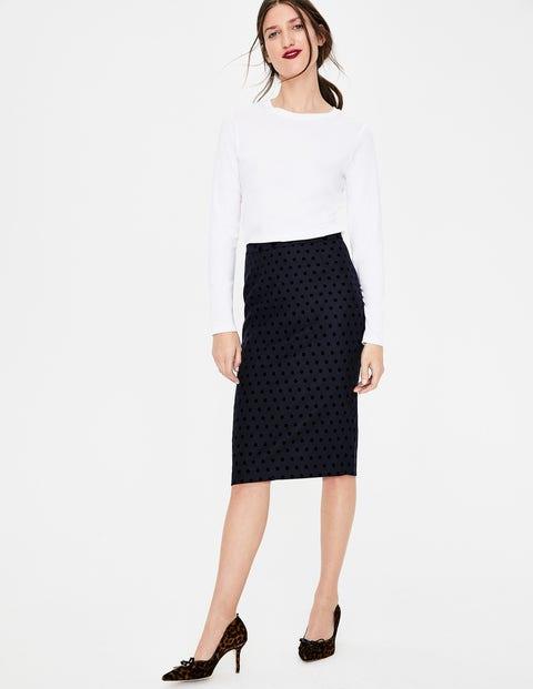 Freya Pencil Skirt - Navy W/Black Flocked Spot