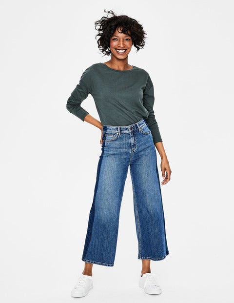 York Cropped Jeans - Light Vintage with side detail
