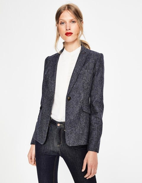 Bath British Tweed Blazer - Navy and Grey Marl Herringbone