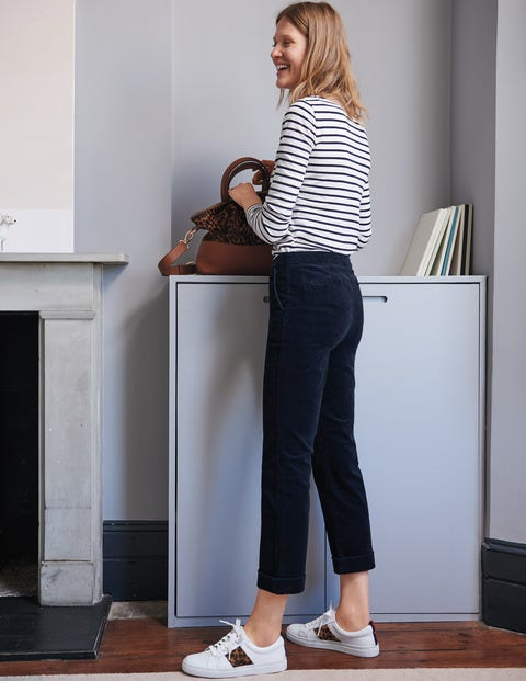 Cord Straight Leg Trousers - Navy