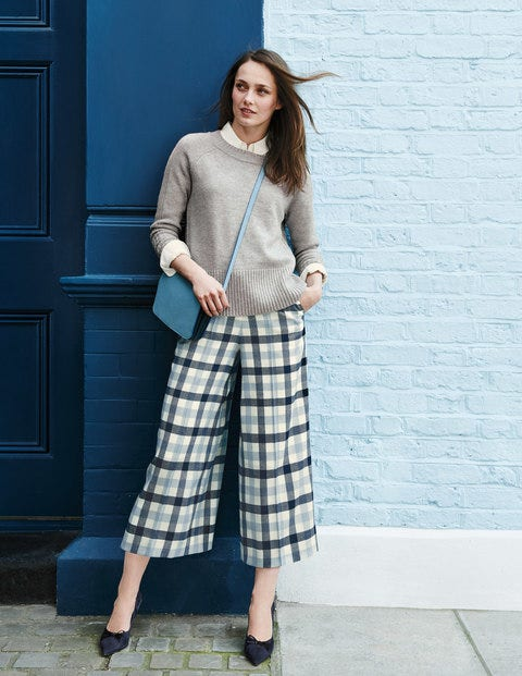 British Tweed Culottes - Ivory, Navy and Breeze Check