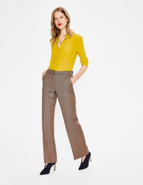 British Tweed Trousers - Fawn Rose Navy and Conker