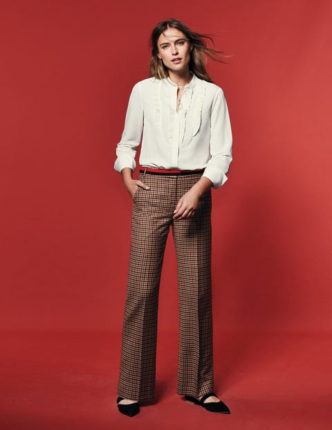 British Tweed Pants - Fawn Rose Navy and Conker