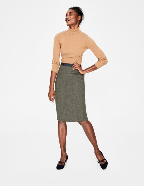 British Tweed Pencil Skirt - Pine Tree Herringbone