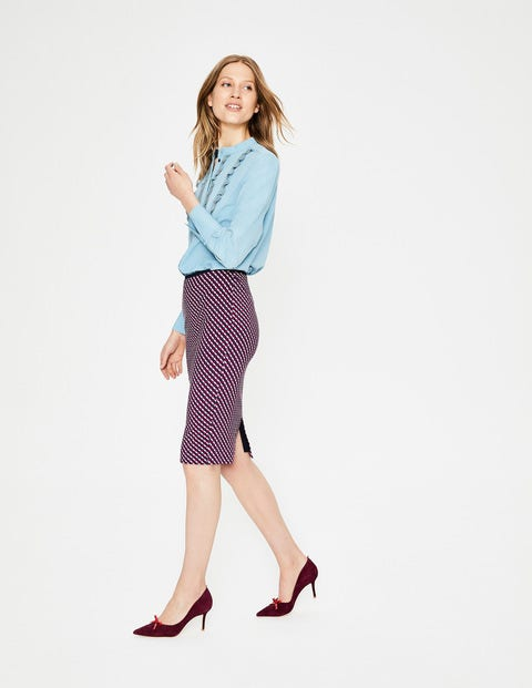 Hampshire Ponte Skirt - Wine, Trellis