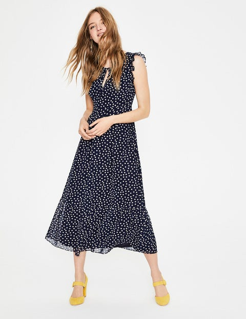 Laura Ruffle Dress - Navy and Milkshake Spot