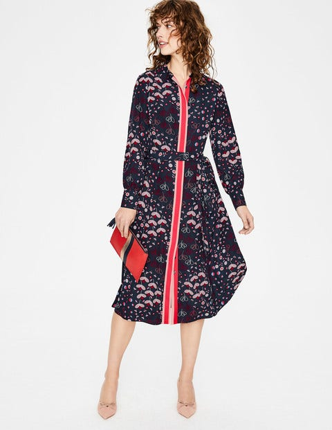 Pippa Shirt Dress - Navy Meadow