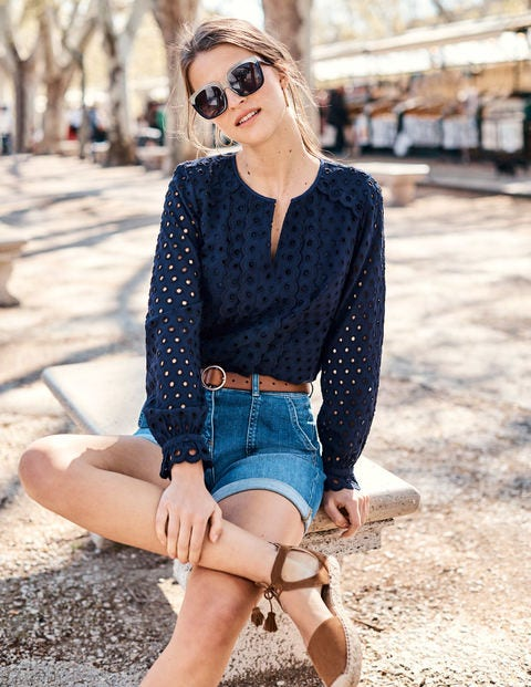Scallop Broderie Top - French Navy