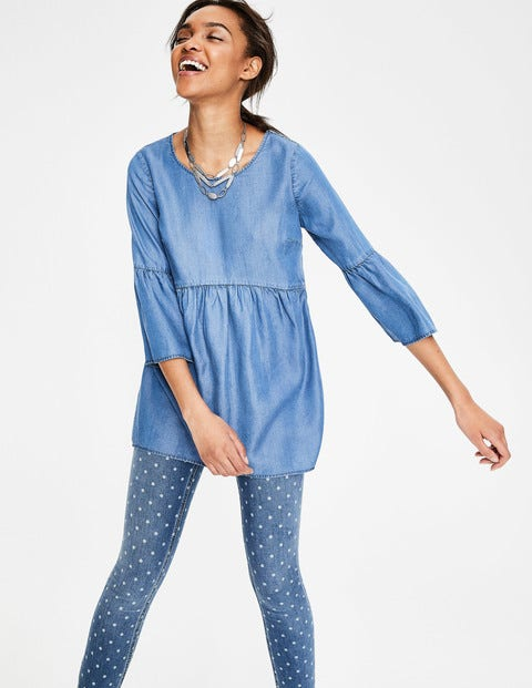 Curved Seam Top - Chambray - Blue