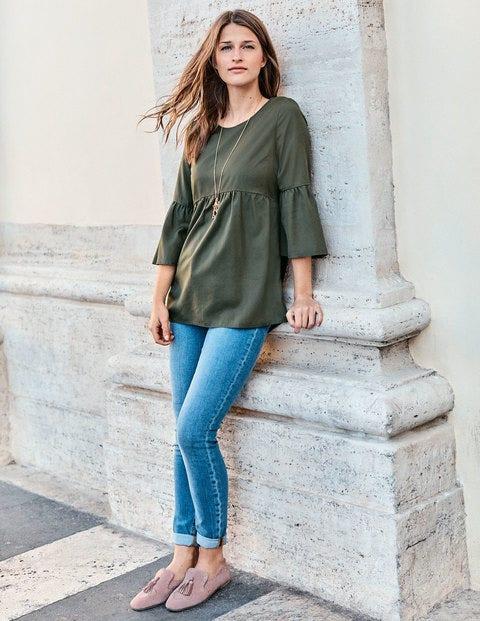 Haut À Coutures Arrondies - Vert kaki