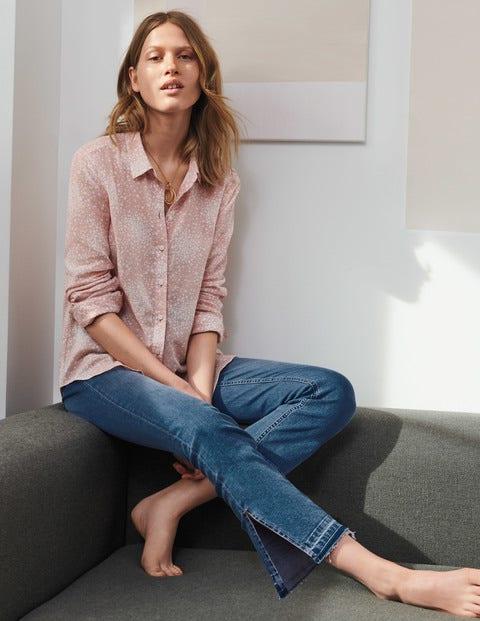 Easy Linen Blend Shirt - Milkshake, Flower Burst