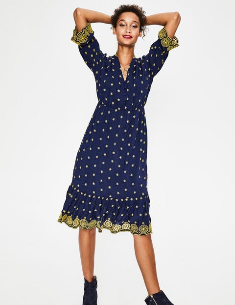 Bronwen Broderie Dress - French Navy with Hot Mustard