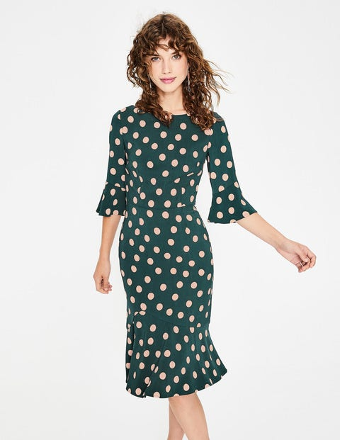 Flippy Pencil Dress - Seaweed Scattered Spot