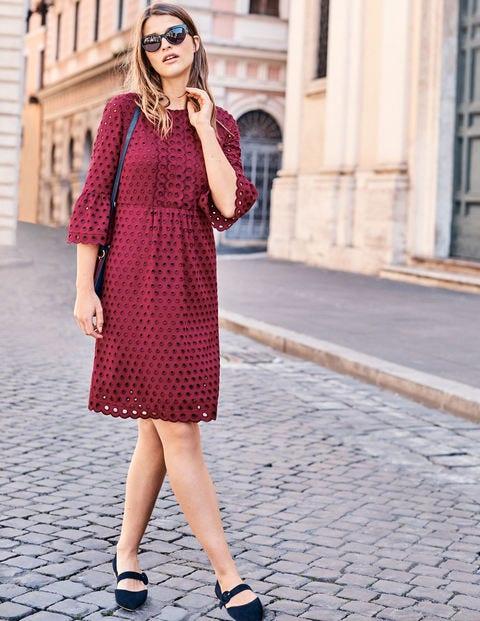 Besticktes Kleid Mit Muschelsaum - Weinrot