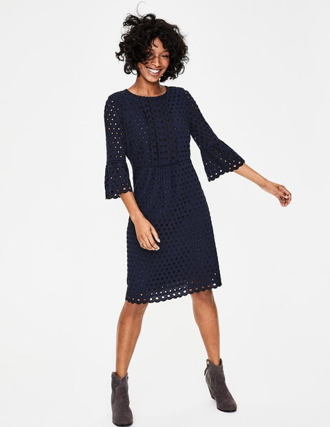 Scallop Broderie Dress - French Navy