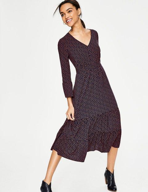 Clementine Dress - Navy Dotty Spot