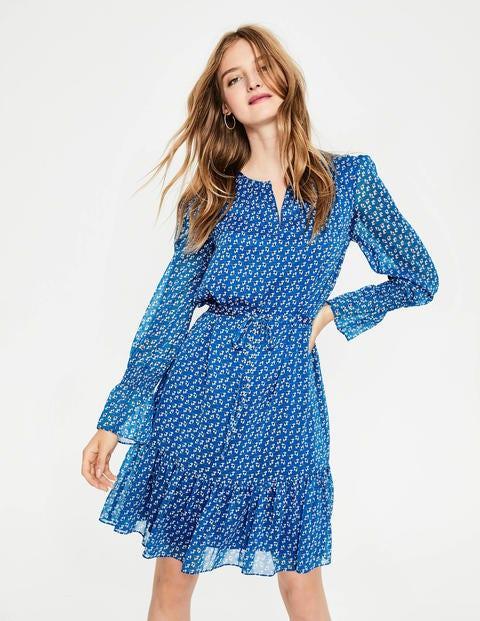 Libby Dress - Cyan Clover Geo