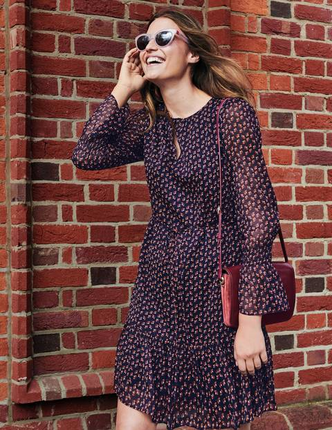 Libby Dress - Navy and Conker Geo