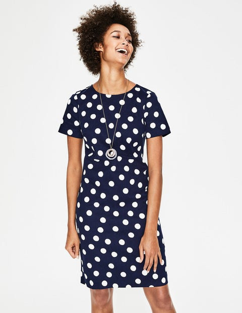 Easy Shift Dress - Navy and Ivory Scattered Spot