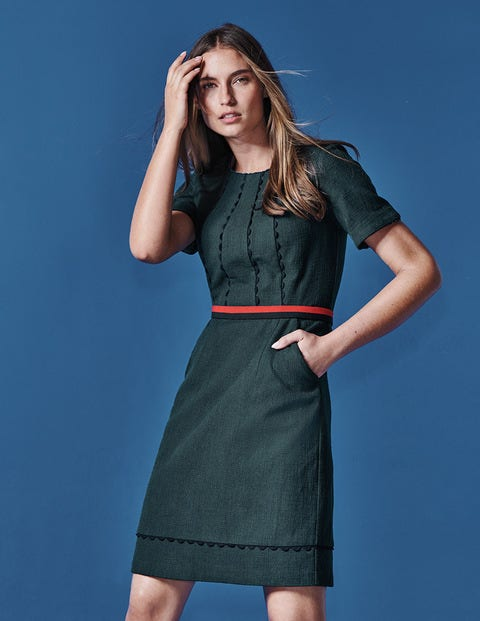 Scallop Jane Textured Dress - Seaweed