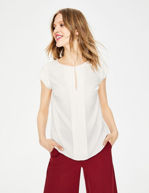 Pleat Front Top - Ivory