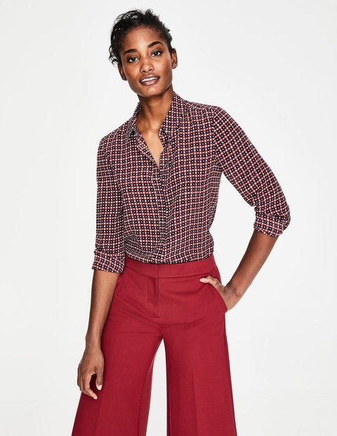 Silk Shirt - Conker, Spotty Trellis Small