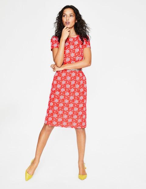 Phoebe Jersey Dress - Blood Orange Floral Sprig