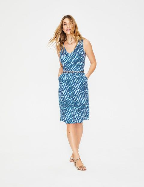 Melinda Jersey Dress - Cyan Spotty Daisy