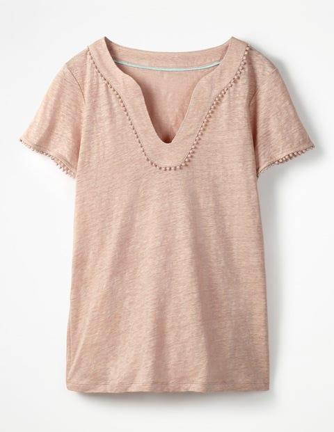 Leinen-Jerseyshirt mit tiefem Ausschnitt - Milchshake