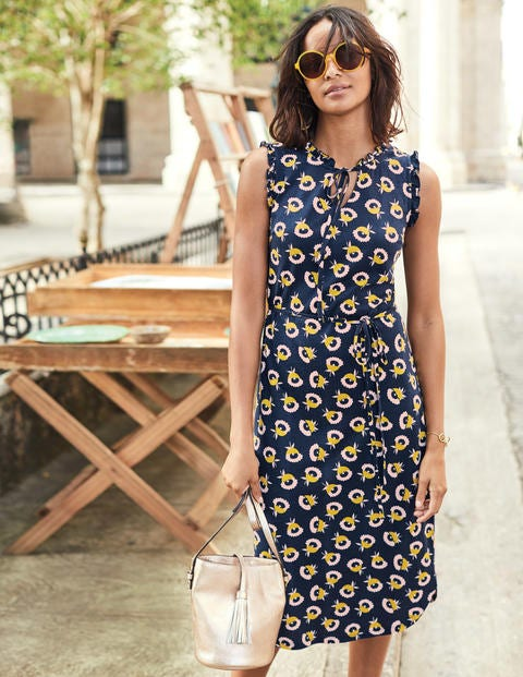 Lois Jersey Dress - Navy Flower Cups