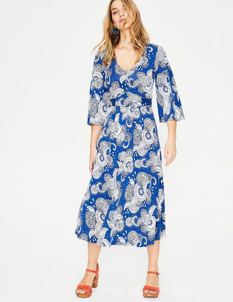 Louisa Jersey Dress - Riviera Blue Paisley Garden