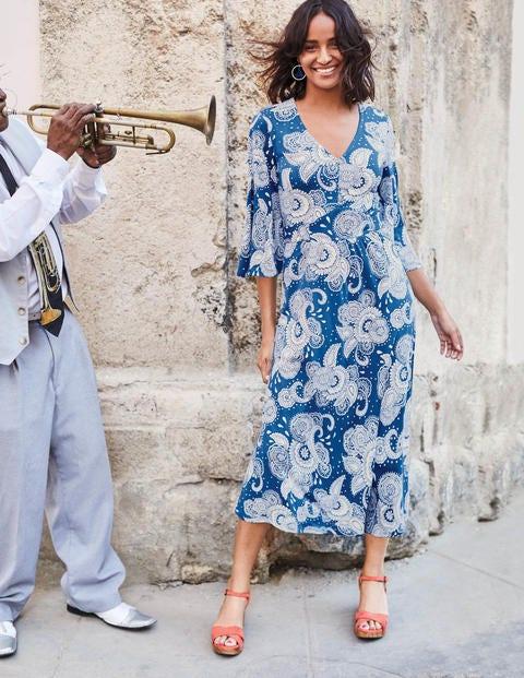Robe Louisa En Jersey - Bleu Riviera Cachemire Jardin