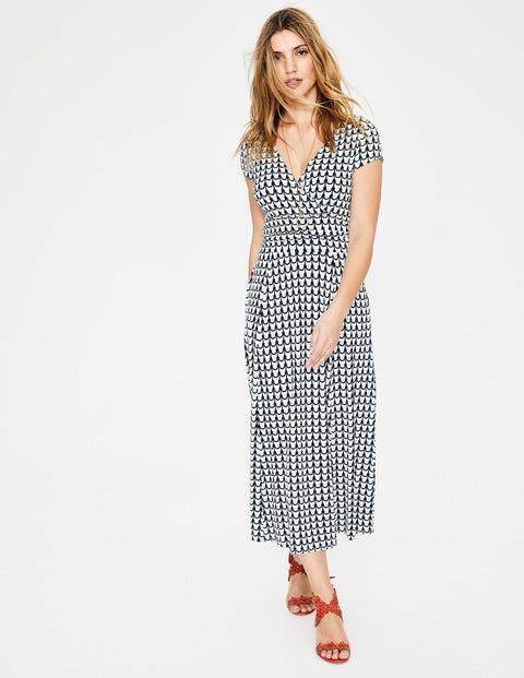 Lily Jersey Dress - Ice Grey Retro Spot
