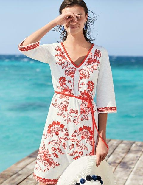 Clemmie Jersey Dress - Ivory/Blood Orange