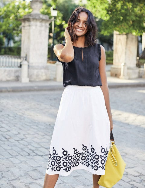 Haidee Embroidered Skirt - White