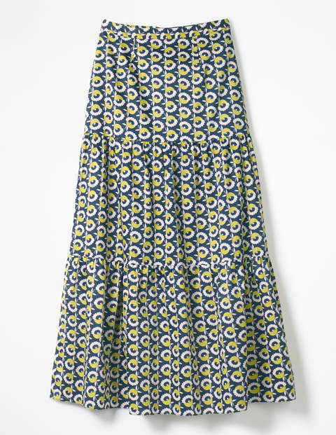 Thea Maxi Skirt - Navy, Flower Cup Geo