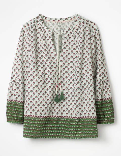 Gauzy Tie-Neck Top - Foliage Ditsy Woodblock