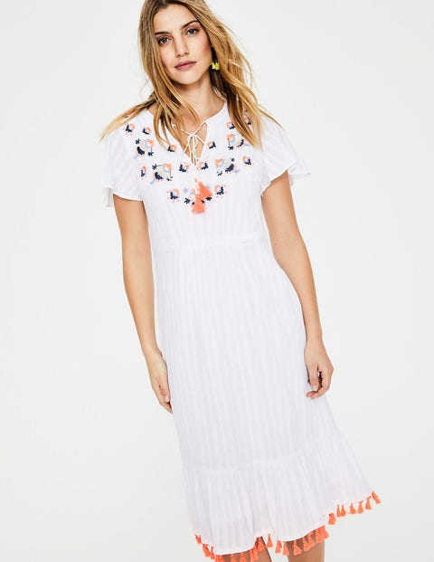 Evelyn Embroidered Dress - Ivory