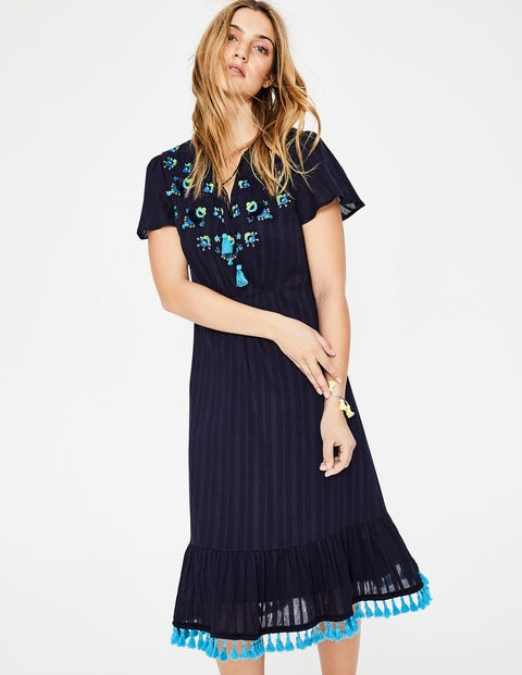 Evelyn Embroidered Dress - Navy