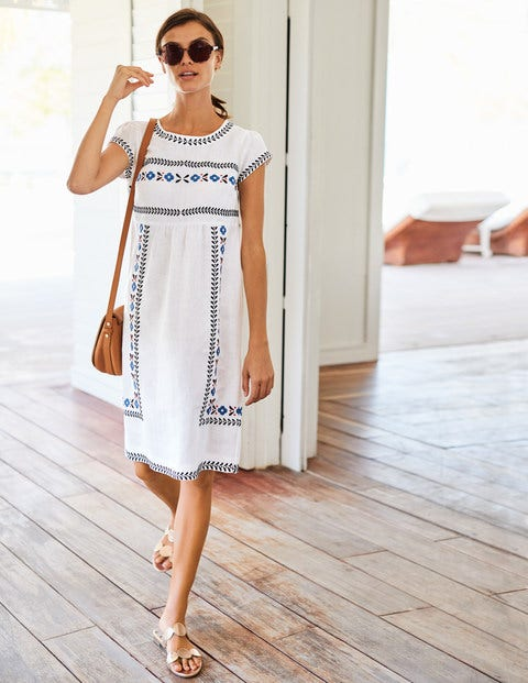 Dora Embroidered Dress - Ivory