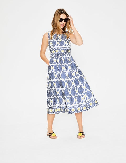 Lizzie Dress - Lupine Blue Duo Paisley