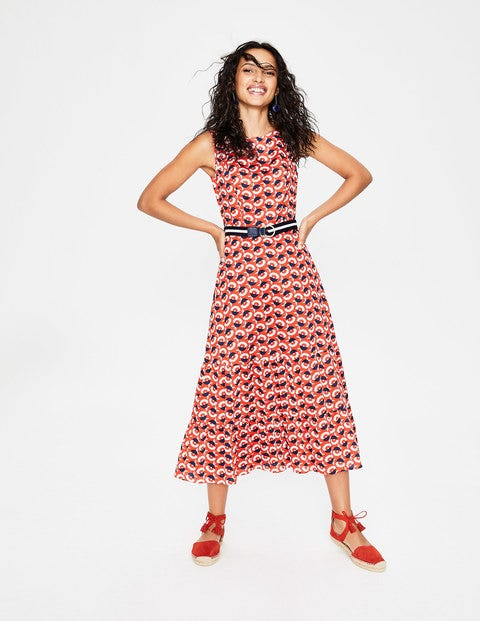 Thea Midi Dress - Blood Orange Flower Cup