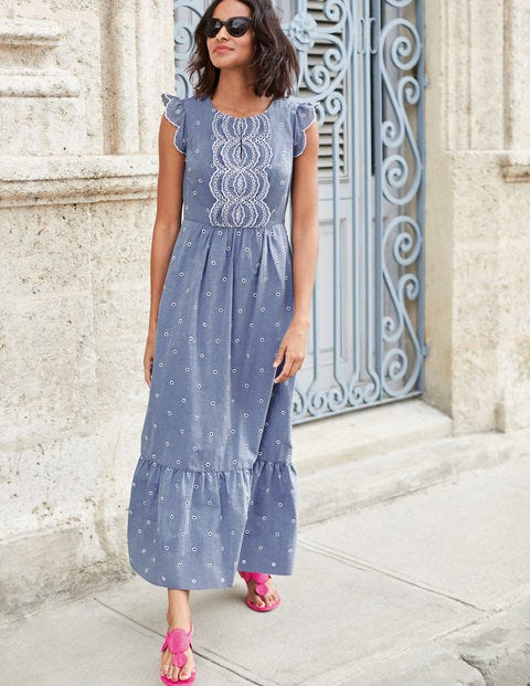 Lucinda Broderie Dress - Chambray with Ivory Embroidery