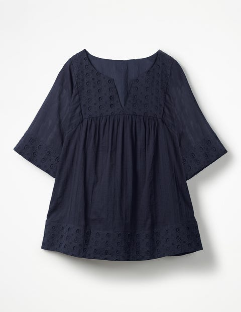 Helene Broderie Top - Navy